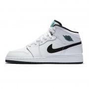 """Air Jordan 1 Mid GS Womens """"Hyper Jade"""" AJ1 Black/White/Green 554725-122"""