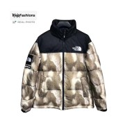 Supreme The North Face Fur Print Nuptse Brown Jacket