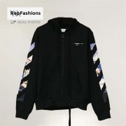 Off White Colored Arrows Zip Up Hoodie