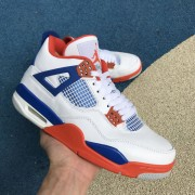 """Air Jordan 4 Retro """"White/Royal/Orange"""" Custom Shoes 308497-171"""