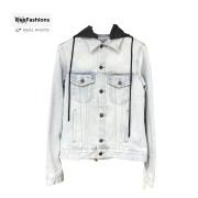 Off White Contrast Hood Denim Jacket