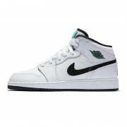 "Air Jordan 1 Mid GS Womens ""Hyper Jade"" AJ1 Black/White/Green 554725-122"
