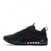 NIKE AIR MAX 97 REFLECTIVE LOGO ALL BLACK AND RED 97S SALE AR4259-001