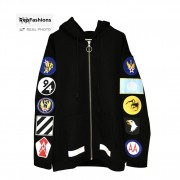 Off White Patch Embroidered Badge Hoodie